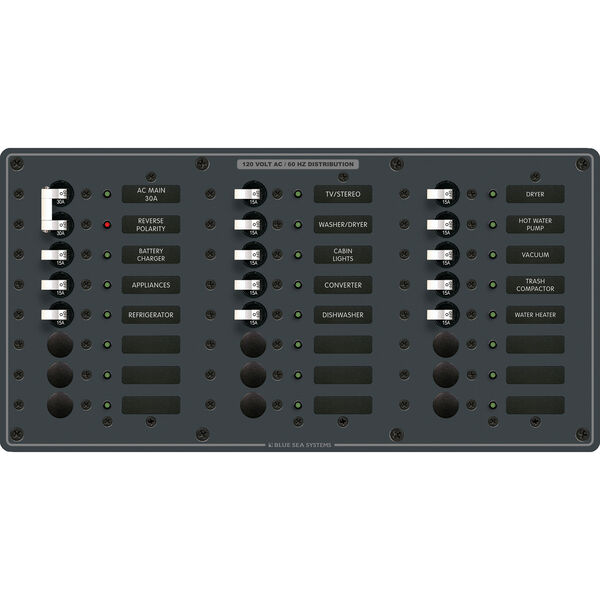 Blue Sea Systems AC Main +22 Positions Panel