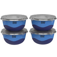 Robert Irvine 8-Piece Microwave-Safe Prep Bowl and Lid Set, Blue