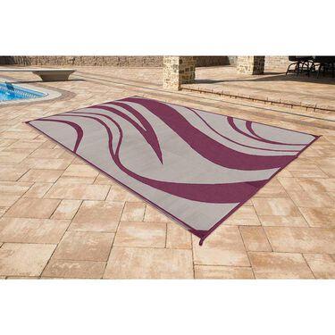 Reversible Wave Design Patio Mat 8' x 16', Beige/Bordeaux