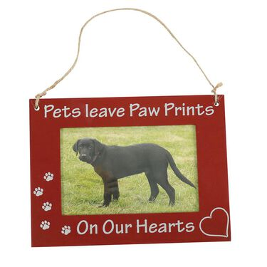 "Pet Picture Frame, Hanging, 6"" x 8"", Brown Pets On Our Hearts"