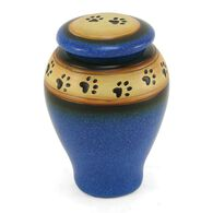 Ceramic Paw Print Pet Urn, Blue, Small