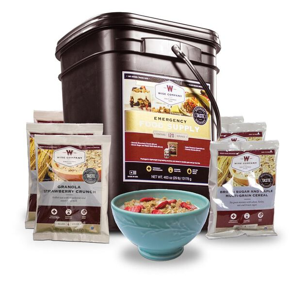 Wise Foods 120 Serving Breakfast Only Grab And Go Bucket Camping