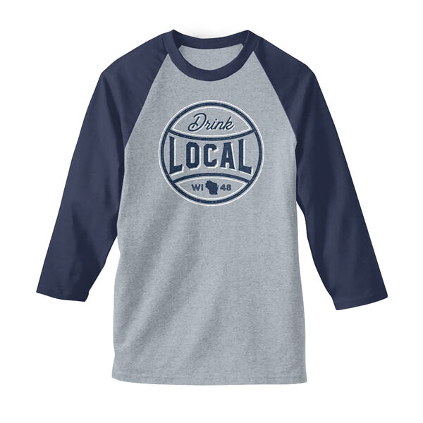 Men's Drink Local WI Baseball Tee