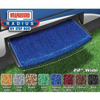 "Prest-O-Fit Wraparound Radius RV Step Rug, 22"", Imperial Blue"