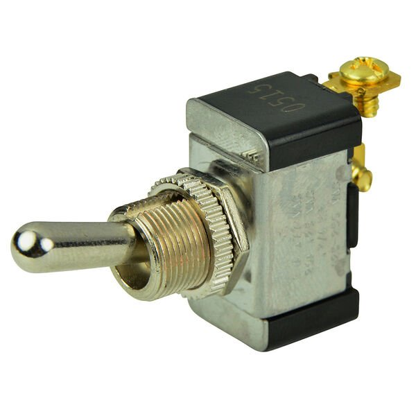 BEP SPST Chrome Plated Toggle Switch, Off/(On)