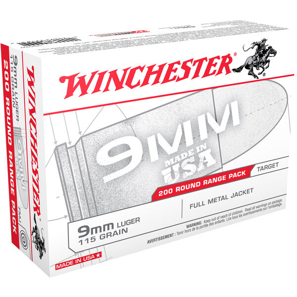 Winchester USA Handgun Ammo Range Pack, 9mm Luger, 115-gr., FMJ