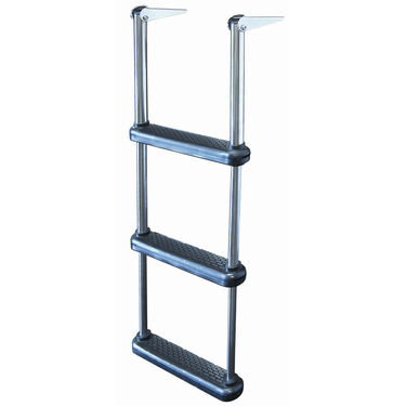 Telescoping Drop Ladder With Plastic Steps, 3-Step