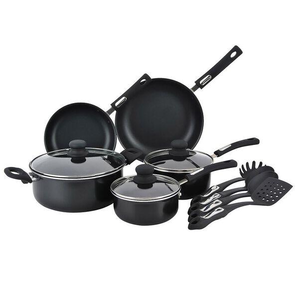 Hamilton Beach 12 Piece Aluminum Cookware Set, Black