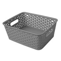 """Home Collections Y-Weave Rectangular Storage Bin, Light Gray, 10""""L x 8""""W x 4""""H"""