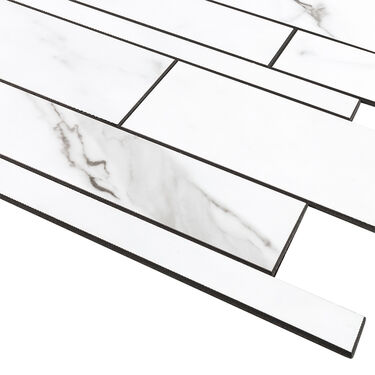 """Peel-and-Stick Mosaic Wall Tile, 12"""" x 13"""", Manhattan Marble Gray and White"""