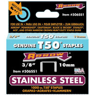 "Arrow T50 3/8"" Stainless Steel Staples, 1000-ct."