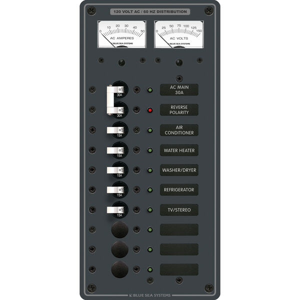 Blue Sea Systems Panel, AC Main + 8 Positions, Micro Voltmeter and Ammeter