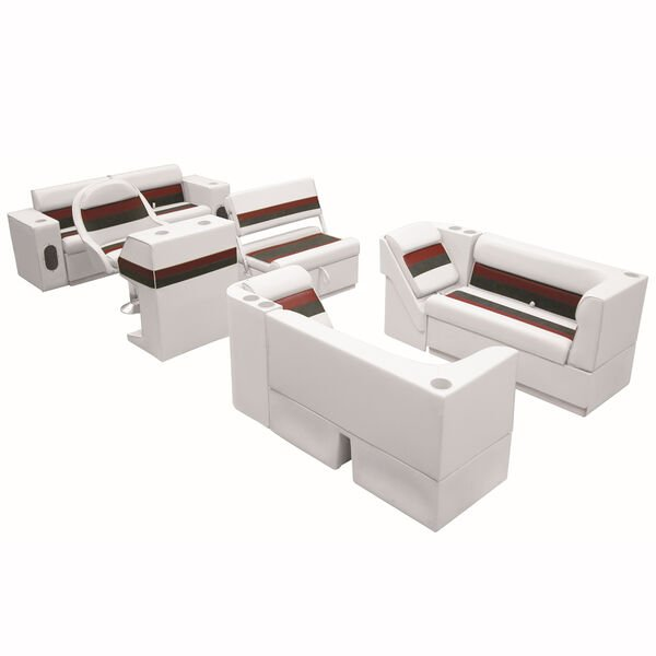 Deluxe Pontoon Furniture w/Toe Kick Base, Complete Package E, White/Red/Charcoal