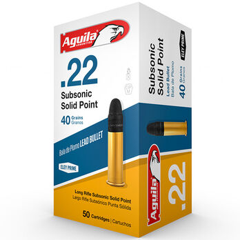 Aguila Subsonic Solid Point Standard Rimfire Ammo, .22 LR, 40-gr.