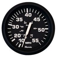 """Faria 4"""" Euro Black Series Speedometer, 80 MPH"""