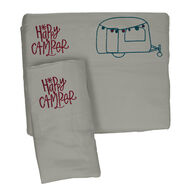 Microfiber Embroidered Sheet Set Grey/Teal, Happy Camper, Bunk