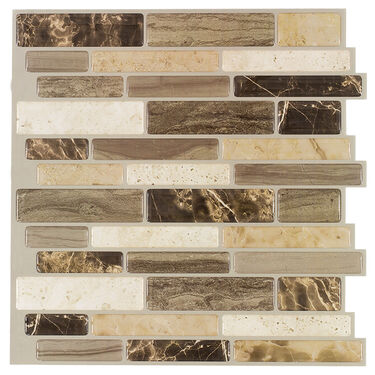 "Peel-and-Stick Mosaic Wall Tile, 10"" x 10"", Verona Beige"