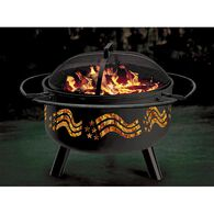 Flag Themed Solid-Steel Fire Pit/Grill Combo