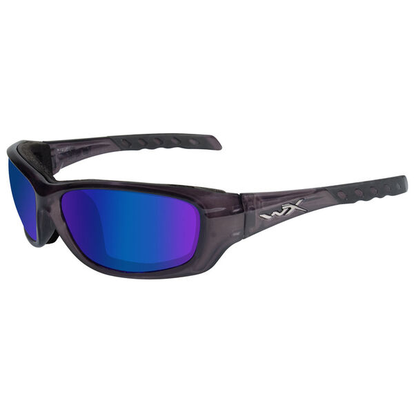 Wiley X WX Gravity Sunglasses, Black Crystal Frame/Blue Mirror Lens