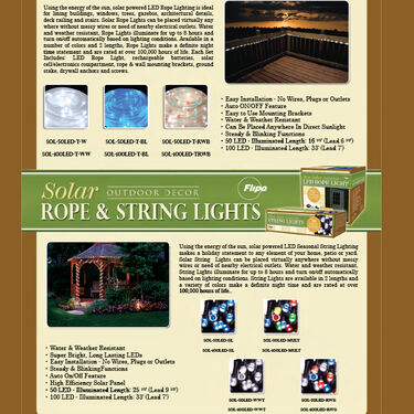 Flipo Red, White, and Blue 100-LED Solar Rope Lighting, 33'
