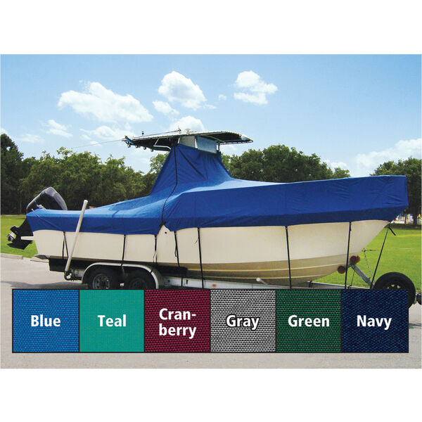 """Taylor Made Cover For Boats With Fixed T-Tops and Bow Rails, 25'4"""" x 102"""""""