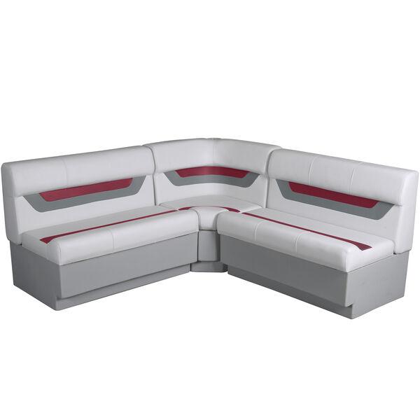 """Designer Pontoon Furniture - 61"""" Rear Wraparound Package, Sky Gray/Dark Red"""