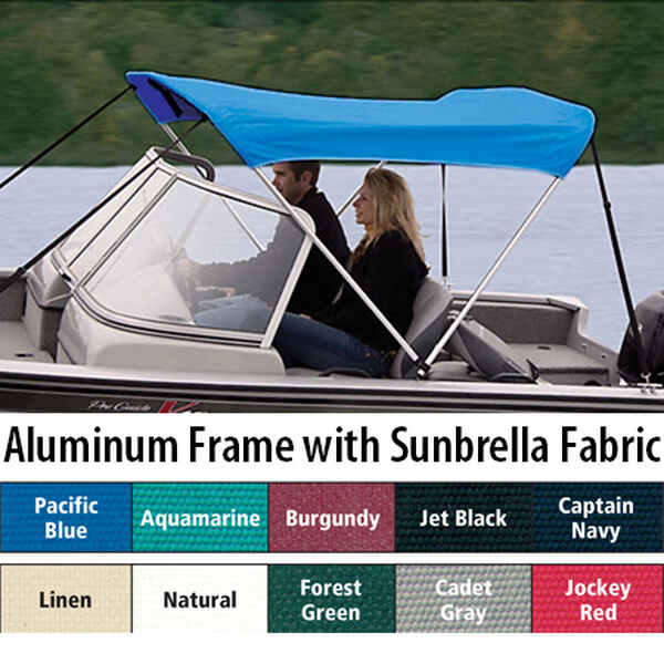 "Shademate Sunbrella 2-Bow Bimini Top, 5'6""L x 42""H, 67""-72"" Wide"