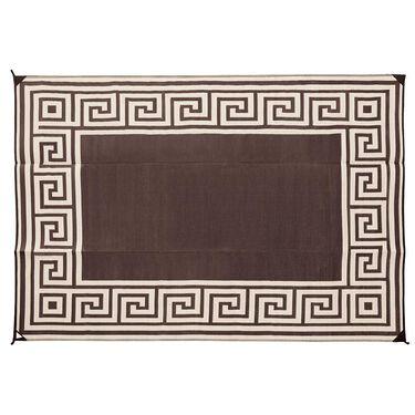 Reversible Greek Motif Design Patio Mat, 9' x 12', Coffee Brown