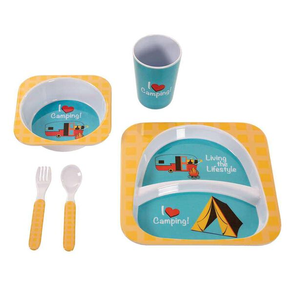 Camping Meal Set, Yellow I Love Camping Set