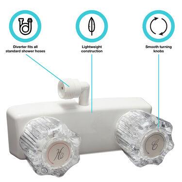 Dura Faucet RV Shower Faucet for Exterior Shower Boxes, White