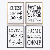 Young's Wood-Framed Camping Signs, Set of 4