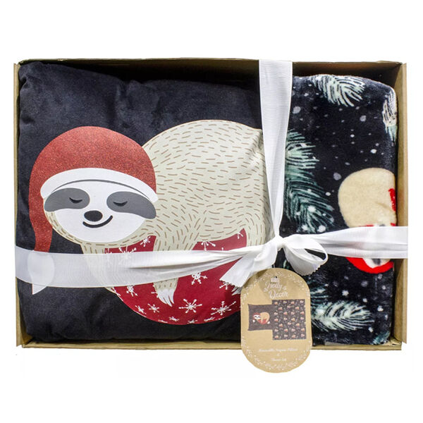 Holly Decor Pillow and Throw Gift Set, Sloth