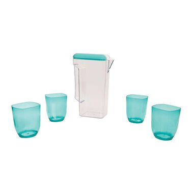 Clear Pitcher & 4 Cup Set, Blue
