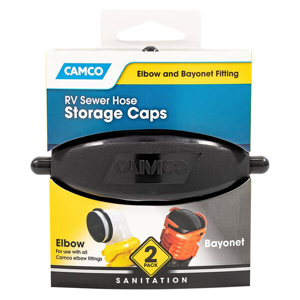 Camco RV Sewer Hose Storage Caps For Bayonet And Elbow, 2-Pack