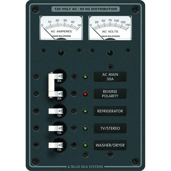 Blue Sea 120V AC Main + 3 Position Circuit Breaker Panel w/Analog Meters