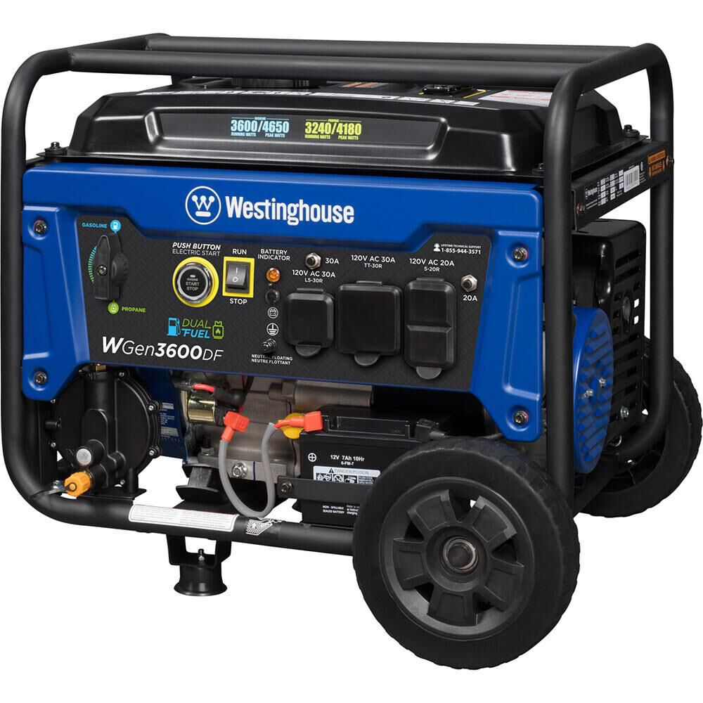 Westinghouse WGen3600DF Open Frame Dual Fuel (Gas/LP) Portable Generator,  3600 Watts