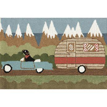 "Green Camping Dog Rug, 24"" x 36"""