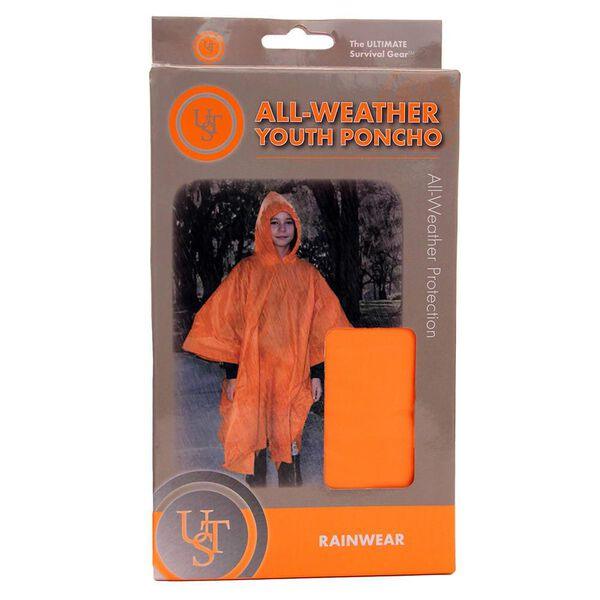 Ultimate Survival Technologies All-Weather Youth Poncho, Orange