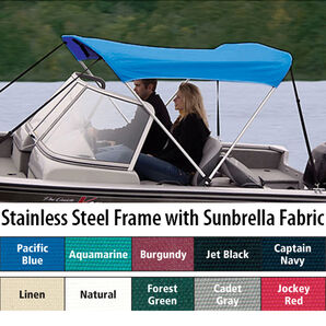 Shademate Sunbrella Stainless 2-Bow Bimini Top 5'6''L x 42''H 73''-78'' Wide
