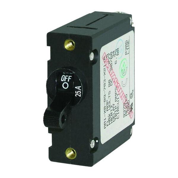 Blue Sea Circuit Breaker A-Series Toggle Switch, Single Pole, 25A, Black