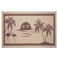 Reversible Tropical Oasis Design RV Patio Mat, 8' x 18', Brown/Beige