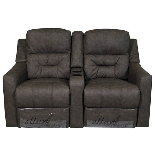"""Allure Furniture 60"""" Power-Recline Theater Seating with Entertainment Console"""