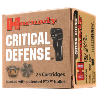 Hornady Critical Defense Handgun Ammo, .38 Special, 110-gr., FTX, 25 Rounds