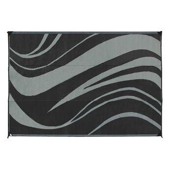 Reversible Wave Design Patio Mat, 9' x 12', Black/Gray