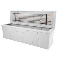 TitanSTOR Large 7' Dock Box With Fishing Rod Holder, white