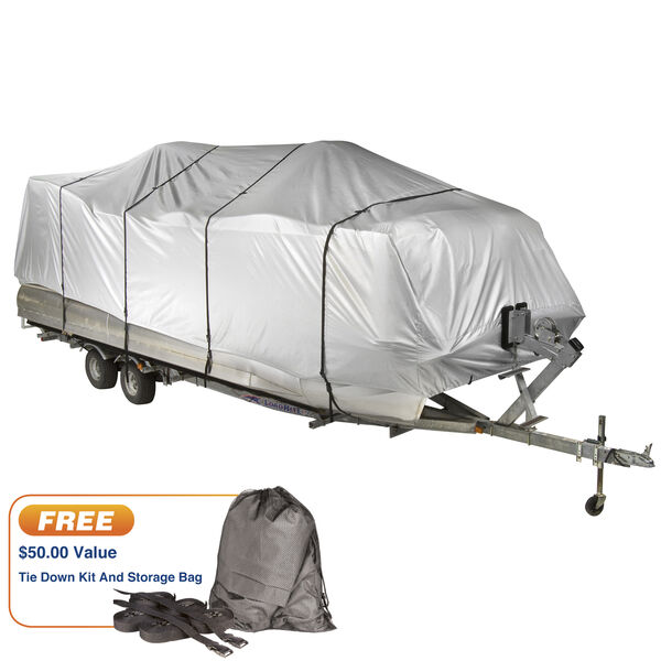"""Covermate HD 600 Pontoon Boat Mooring And Storage Cover, 25'-28'L, 102"""" Max Beam"""
