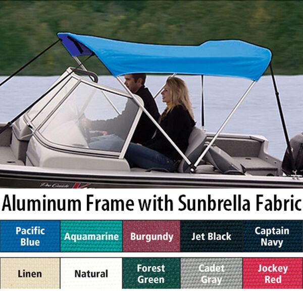 """Shademate Sunbrella 2-Bow Bimini Top, 5'6""""L x 42""""H, 54""""-60"""" Wide"""