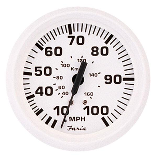 "Faria 4"" Dress White Series Speedometer, 80 MPH"