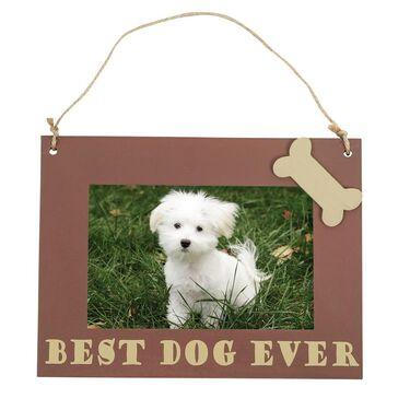 "Pet Picture Frame, Hanging, 6"" x 8"", Brown Best Dog Ever"