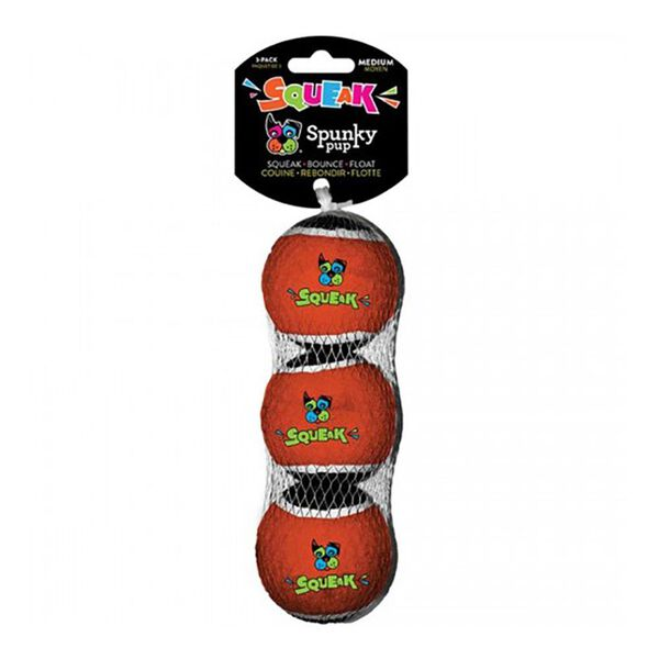Spunky Pup Squeaky Tennis Ball, 3-pack